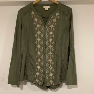 Style & Co olive green embroidery long sleeve